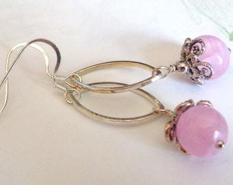 Pink Earrings, Bridesmaid Earrings, Wedding Jewelry, Pink Dangle Earrings