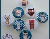 Hipster Woodland Knobs • Owl • Fox • Raccoon • Deer • Bear • Woodland Animal Knobs • Grey • Teal • Drawer Pulls • Woodland