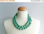 Green statement necklace, chunky necklace double strand