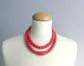 Red statement necklace double strand