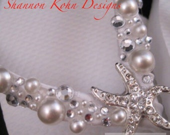 So Sweet Bride Shoshanna Starfish Pearl and Crystal Bridal Wedding Flip Flops