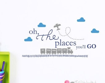 Oh The Places You'll Go with Train and Track Airplane Trails Clouds Vinyl Wall Art Words Decals Graphics Stickers Decals 1943