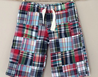 shortees speedy pull-on shorts - patchwork plaid madras - available in toddler and big kid sizes