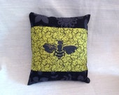 Mini Decorative Pillow Screenprint Black Bee on Green