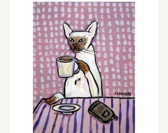 ON SALE Siamese Cat at the Coffee Shop Art Print