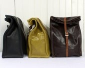 Dark Brown Top Grain Leather Lunch Bag Container