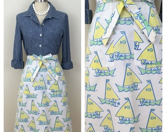 70s White Yellow Sailboat Print A-line Wrap Skirt, Size Medium