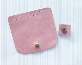 1 sets of Genuine Leather Pink Magnetic snap closure Bag Supply