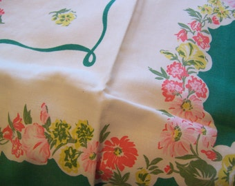 charming and lovely vintage table cloth