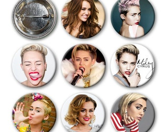 MILEY CYRUS Pinback Buttons (set of 8)