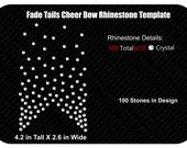 Fade Tails Rhinestone Cheer Bow Template INSTANT FILE DOWNLOAD