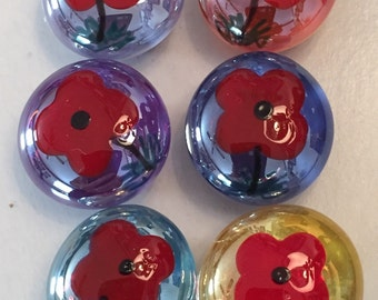 Poppies poppy flowers Hand Painted glass gem magnets party favors