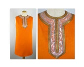Vintage 60s Orange Mini Dress with Embellished Neckline of sequins and beads by Bill Genender