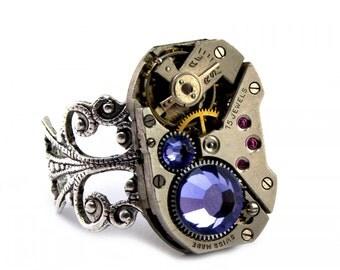 Purple Tanzanite Steampunk Ring December Birthstone Swarovski Crystal Steampunk Jewelry Steam Punk Ring designed by London Particulars