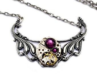 Steampunk Necklace - Lovely Vintage Clockwork Pendant Design & Purple Amethyst Swarovski Crystals - PROMPTLY SHIPPED - London Particulars