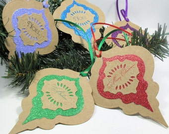 Christmas Gift Tags -  Set of 5 - Christmas Ornament - Gliltter - Victorian - Layered - Your choice of color - Rustic