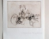 Songmaker-Original Artwork Musician Guitarist Blind Contour Drawing Etching Printmaking Singer