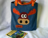 Moose Tote Bag|Boy Gift|Personalized Book Bag|Christmas Gift Bag|Children's Book Bag|Moose Applique Bag|Toddler Tote Bag|Kids Gift Bag