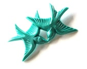 Teal swallow love birds flying and kissing vintage plastic brooch pin