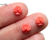 8pc tiny coral rose cabochons / flat back resin flowers / diy jewelry / embellishments / 7mm / small rose flower cabs / stud earring size
