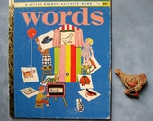 Rare Vintage Words Book, Picture and Word Wheel, Little Golden Activity Book, 1955