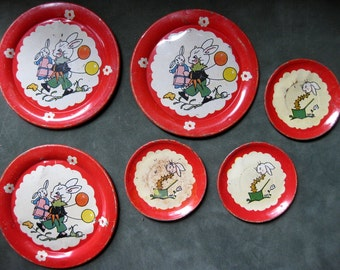Vintage Set of Six Bunny Tin Dishes, Ohio Art Dishes, Easter Bunny