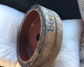 VINTAGE FOUNDRY MOLD, wooden industrial display, steampunk, painted bowl