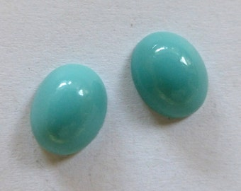 Vintage Opaque Turquoise Oval Glass Flat Back Cabochons 10x8mm (4)