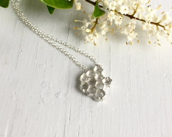 Honeycomb Necklace, Sterling Silver Honeycomb, Silver Beehive, Honey Necklace, Honey comb Jewelry, Handcast in my studio, Chase and Scout