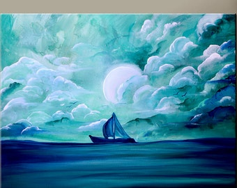 "Abstract Canvas Art Painting 30x24"" Original Contemporary Cloud Seascape Sail Boat Art by Destiny Womack - dWo - Sailing Away"