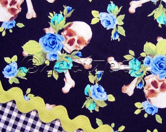 Michael Miller Sm Charm SKULLS and ROSES GREEN Blue Black Quilt Fabric Yard, Half Yard, or Fat Quarter Fq Day of the Dead Skull Skeleton