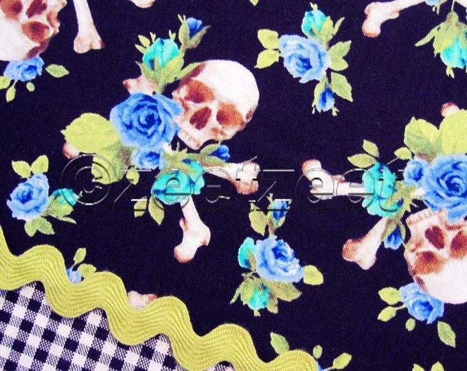 RARE Michael Miller Small Charm SKULLS and ROSES Black Green Blue Black Quilt Fabric Precut Fat Quarter Fq Day of the Dead Skull Skeleton