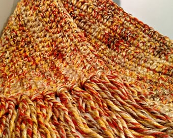 Fall Leaves Hand Crocheted Scarf