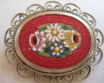 Red micro mosaic brooch Italy silver mosaic pin