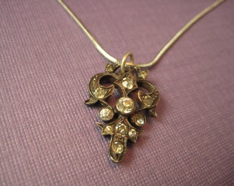 Rhinestone charm on chain
