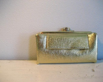 Vintage Gold Metallic Pebbled Faux Leather Large Wallet