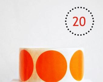 Circle Stickers {2.0inch or 50mm} Orange Envelope Seals {20} Wedding Engagement Contemporary Wrap DIY Supplies Children Party