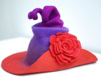 Hat with wide brim, Witch hat wizard hat purple with big red flower felted from wool, exclusive CUSTOM MADE choose your own colors