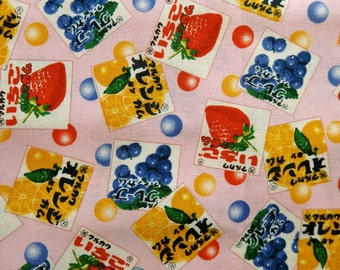 Retro Japanese Gum Cotton Fabric in Pink - Fat Quarter, Grape Strawberry Orange, Box Gumballs, Red Blue Pink White Yellow