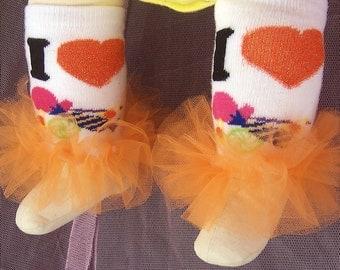 Orange Halloween Candy Ruffle tutu leg warmers, Tutu Leggings, Perfect for your little pumpkin, Halloween costume, party, photos