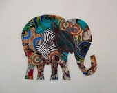 X Large Elephant Iron On Fabric Applique Patch