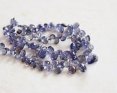Iolite Gemstone Briolette Faceted Teardrop Pear Top Drilled 6.5 to 8.5mm 34 beads