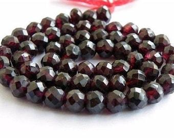 Garnet Gemstone Rondelle Dark Maroon Faceted 6.5mm 28 beads 1/2 strand