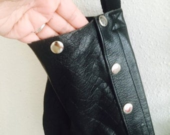 Black leather tote.. Made from leather pants