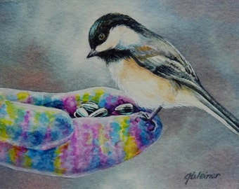 Winter Mitten Hand Fed Chickadee Bird Limited Edition ACEO Giclee Print reproduced from the Original Watercolor