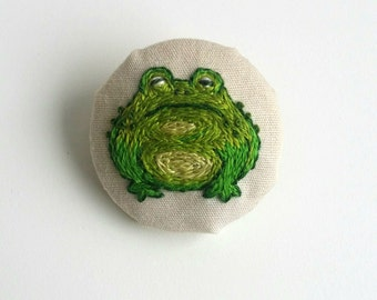 Miniature Hand Embroidered Button Badge - Toad