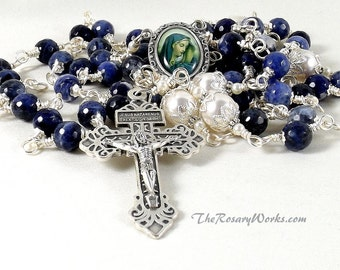Our Lady of Sorrow Rosary Beads Mater Dolorosa Pardon Crucifix Swarovski Pearls Blue Pewter Denim Lapis Lazuli Wire Wrapped Unbreakable