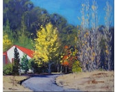 LANDSCAPE OIL PAINTING Autumn artwork on canvas by Listed artist Graham Gercken