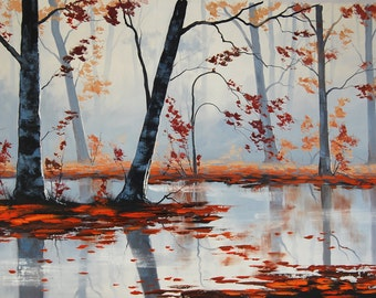 ORIGINAL FINE ART  Fallen leaves  River Landscape painting Oil Autumn painting by G.Gercken