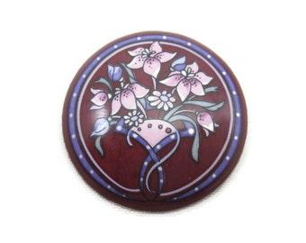 Enamel Brooch - Hand Painted, Pink Flowers, Austria, Michaela Frey Jewelry, Artist Signed